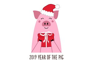 Cute 2019 Year of the Pig poster