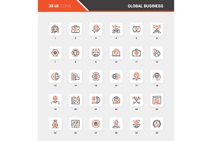 Global Business Flat Line Web Icon
