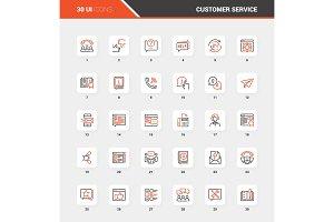 Customer Service Flat Line Web Icon