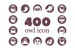 400 Owl vector icon set