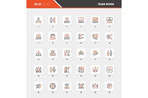 Team Work Flat Line Web Icon