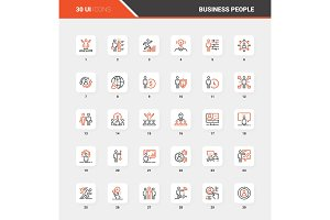 Business People Flat Line Web Icon