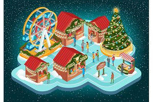 Christmas Fair with Buildings and