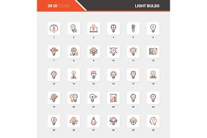Light bulbs Flat Line Web Icon