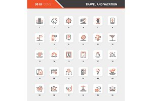 Travel and Vacation Flat Line Web