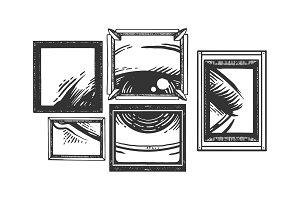 Eye in picture frame engraving