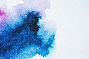 abstract bright blue watercolor pain