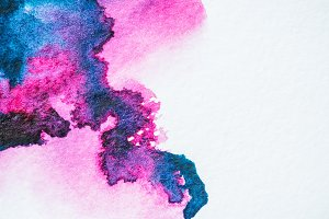 pink and purple watercolor blots on