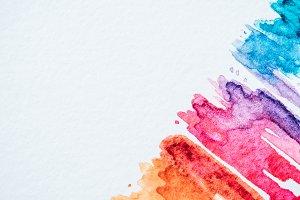 artistic colorful watercolor strokes