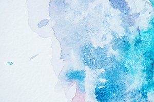 abstract bright blue watercolor blot