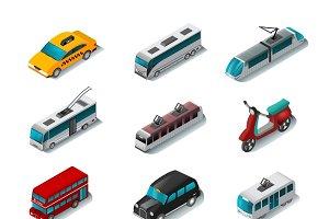 Public transport isometric icons set