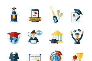 School graduation flat icons set