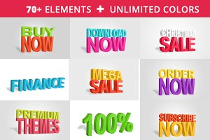 Ultimate 3D Text Render PACK PSD