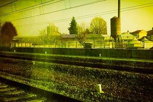 railway tracks in suburban scene vin
