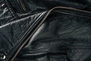 full frame of black leather jacket a