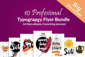 Typography Flyers Template Bundle 10