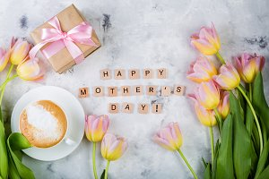 Mother's day card with coffee