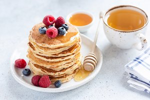Stack of healthy oat pancakes