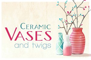 Ceramic Vases & twigs (full pack)
