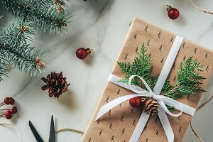 top view of christmas gift box with
