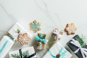 flat lay with christmas gift boxes a
