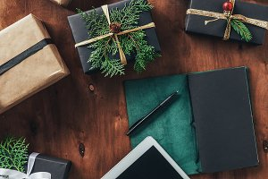 flat lay with christmas gift boxes,