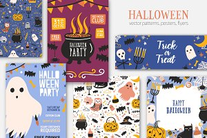 Halloween seamless, posters, banners