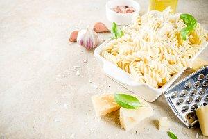 Fusilli pasta with parmesan