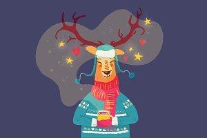 Cute reindeer with coffee mug