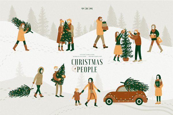 Illustrations and Illustration Products - Christmas people