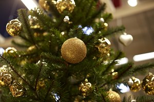Christmas trees with yellow and red