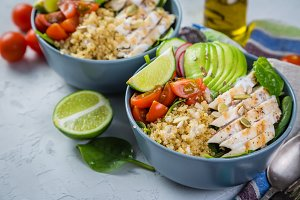 Fresh healthy salad in bowl and