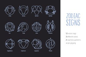 Zodiac signs bundle, seamless