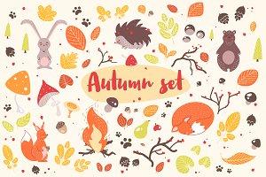 Autumn bundle, seamless, posters