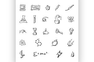 Doodle Science icon set