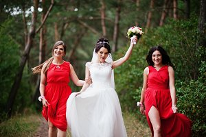Fantastic bride with awesome bridesm