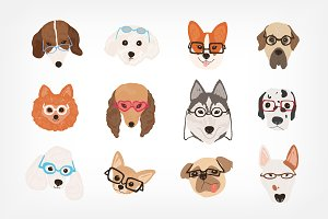 Dogs in glasses set and seamless