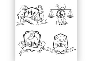 Set of Finance forex Labels Logo