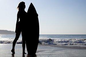 Surf girl silhouette