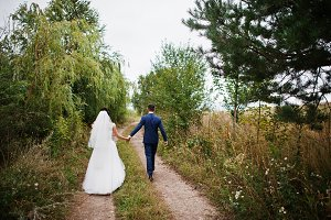 Bride and groom take walk in the cou