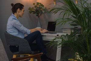 Female working from home