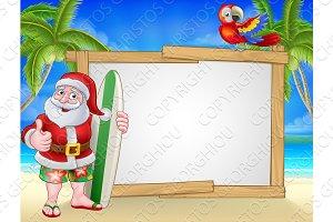 Santa Claus Surf Beach Christmas