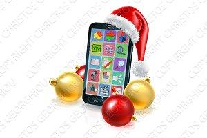 Christmas Mobile Phone in Santa Hat