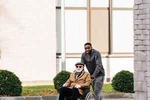 senior disabled man in wheelchair an