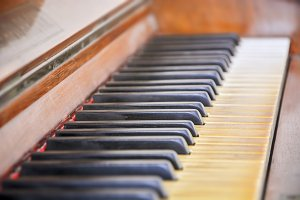 Keyboard of an old piano