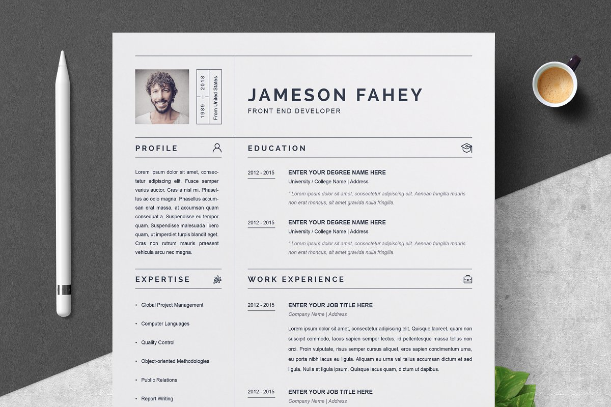 Clean Resume CV Template Templates Creative Market