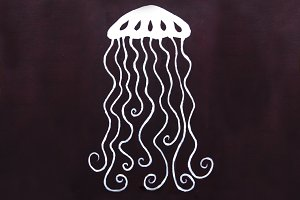 Purple white jellyfish art