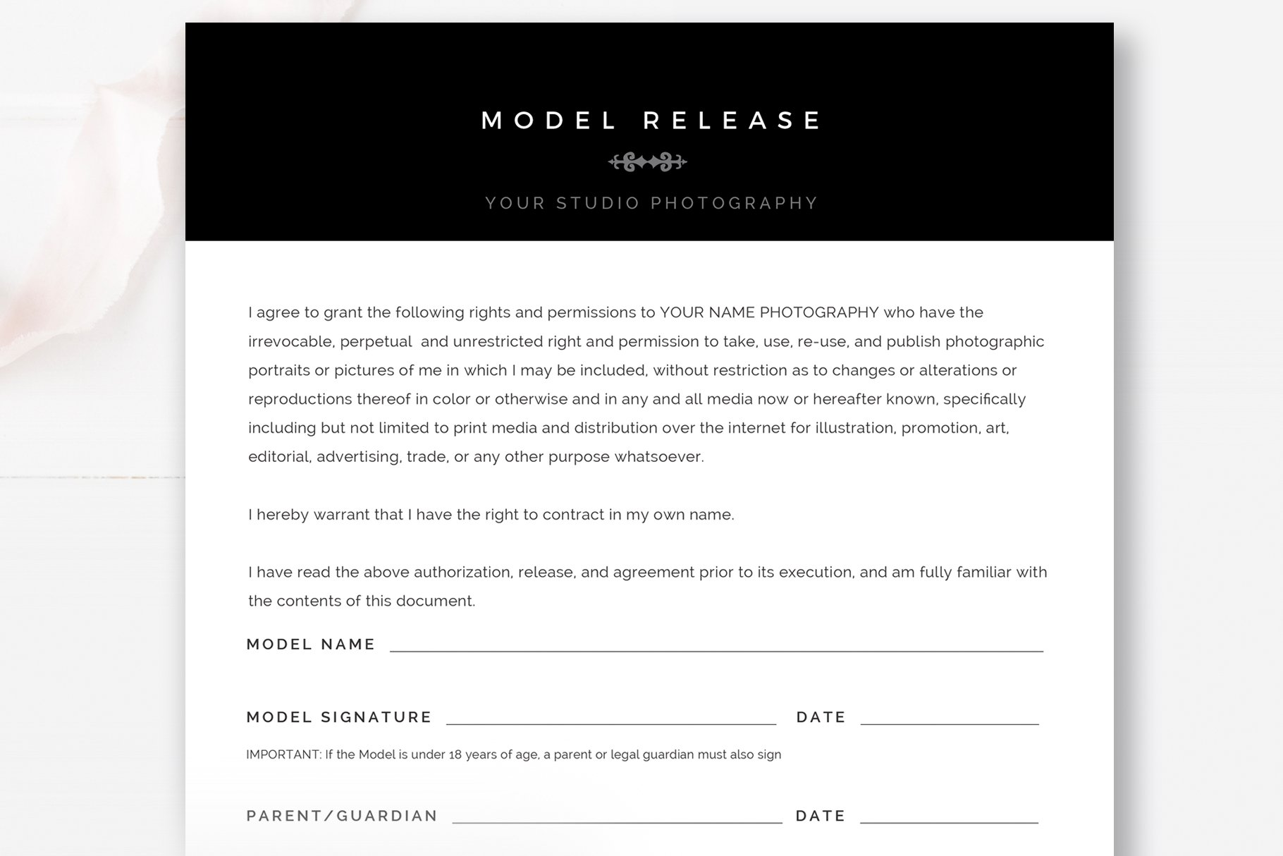 Photography Model Release Template Stationery Templates Creative Market
