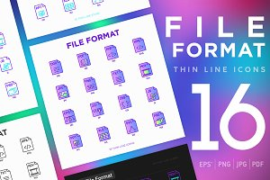 File Format | 16 Thin Line Icons Set
