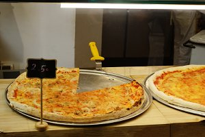 Showcase pizzeria with different